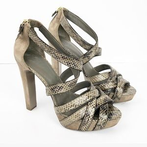 Tory Burch Snakeskin Print Taupe Heels size 10